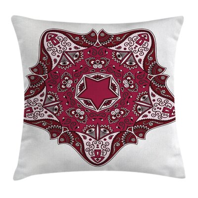 Tribal Maroon Mandala Asian Square Pillow Cover Size: 20 x 20
