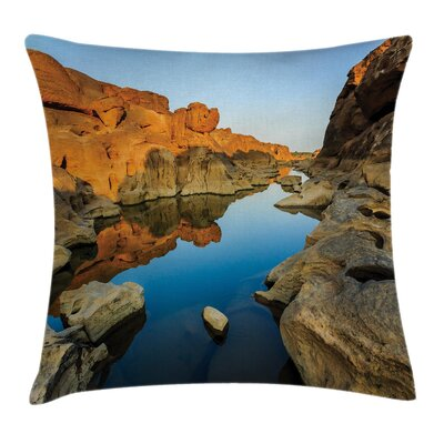 Nature River between Cliffs Square Pillow Cover Size: 16 x 16