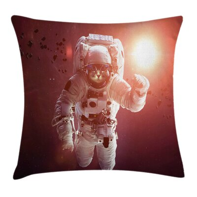 Space Cat Pet Square Pillow Cover Size: 18 x 18