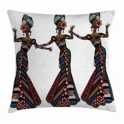 African Woman Native Costumes Square Pillow Cover Size: 18 x 18