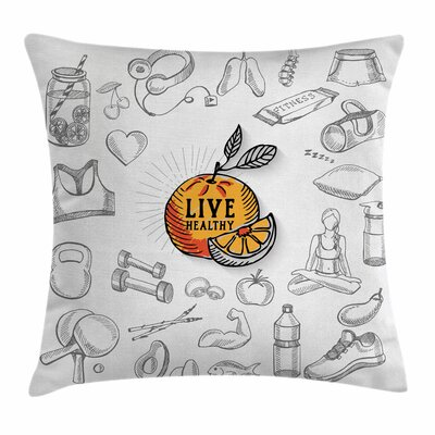 Fitness Live Healthy Theme Square Pillow Cover Size: 16 x 16
