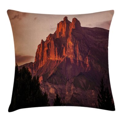 Nature French Alps Peak Sunset Square Pillow Cover Size: 18 x 18