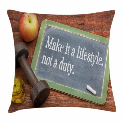 Fitness Lifestyle Quote Icons Square Pillow Cover Size: 18 x 18