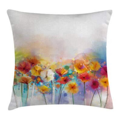 Gerbera Flower Bouquet Square Pillow Cover Size: 24