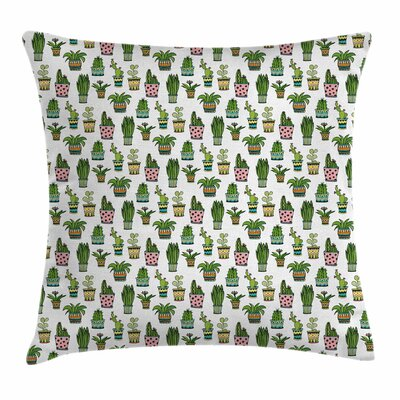 Cactus Succulent Doodles Square Pillow Cover Size: 24 x 24