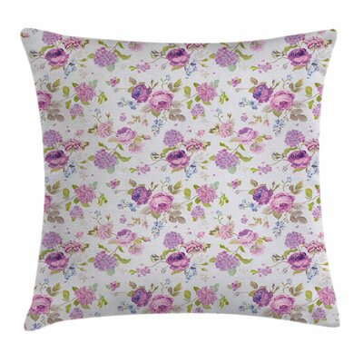 Roses Violets Square Pillow Cover Size: 18 x 18