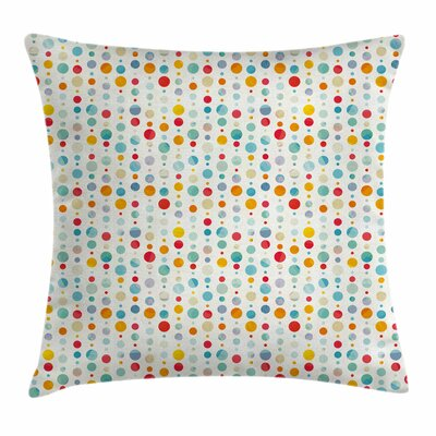 Abstract Colorful Large Dots Square Pillow Cover Size: 18 x 18