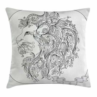 Astrology Zodiac Leo Lion Sign Square Pillow Cover Size: 16 x 16