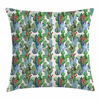 Cactus Hawaiian Summer Square Pillow Cover Size: 18