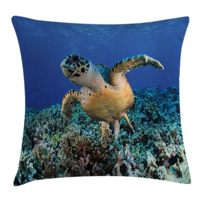 Cheloniidae Deep Ocean Square Pillow Cover Size: 24