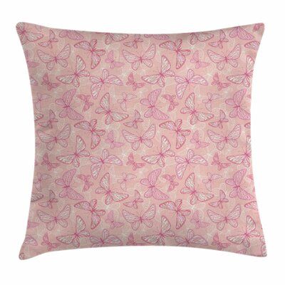 Cute Butterflies Square Pillow Cover Size: 16 x 16