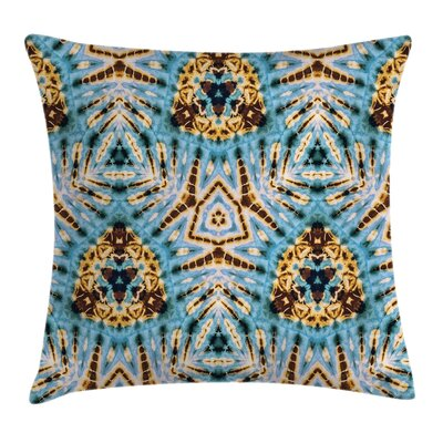 Gold Abstract Tribal Patterns Square Pillow Cover Size: 18 x 18