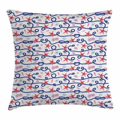 Starfish Decor Rope Scallops Square Pillow Cover Size: 24 x 24
