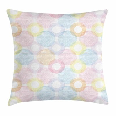 Pastel Big Spots Overlapping Square Pillow Cover Size: 16 x 16