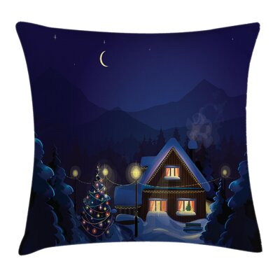 Christmas Winter Home and Tree Square Pillow Cover Size: 24 x 24