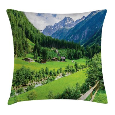 Alpine Scenery Pastoral Square Pillow Cover Size: 18 x 18