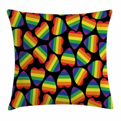 Rainbow Hearts Gay Pride Flag Square Pillow Cover Size: 18 x 18