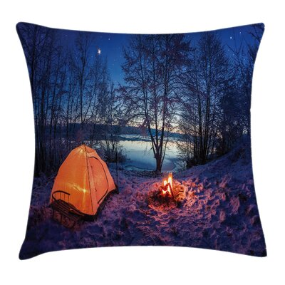 Forest Night Camping Adventure Square Pillow Cover Size: 24 x 24