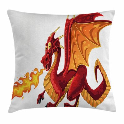 Dragon Funny Mascot Cartoon Square Pillow Cover Size: 16 x 16