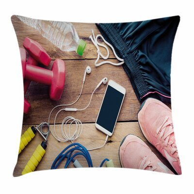 Fitness Sportswear Accessories Square Pillow Cover Size: 24 x 24