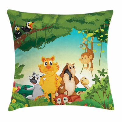Zoo Forest Scene Jungle Habitat Square Pillow Cover Size: 18 x 18