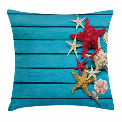 Starfish Decor Different Shells Square Pillow Cover Size: 16 x 16