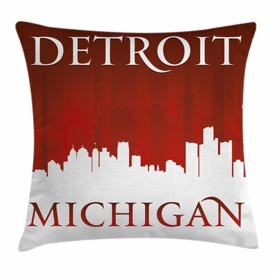 Detroit Decor Michigan City Square Pillow Cover Size: 18 x 18