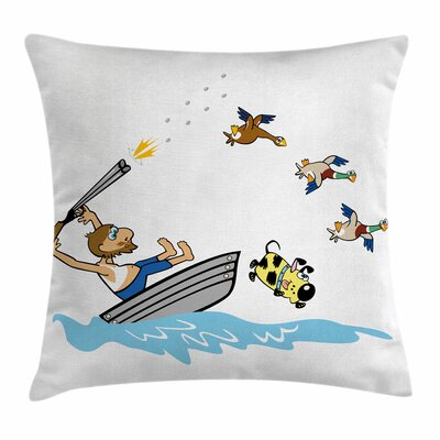 Aged Man Boat Square Pillow Cover Size: 24 x 24