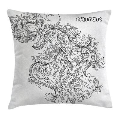 Art Floral Astrology Aquarius Square Pillow Cover Size: 16 x 16