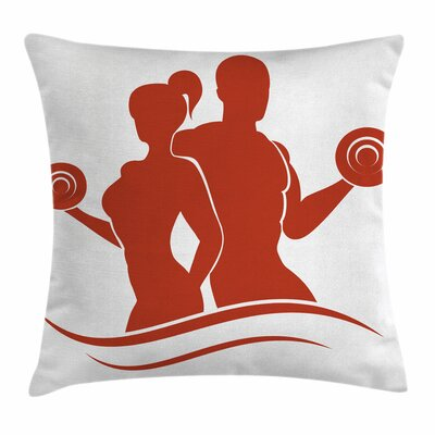 Fitness Muscled Man and Woman Square Pillow Cover Size: 18 x 18