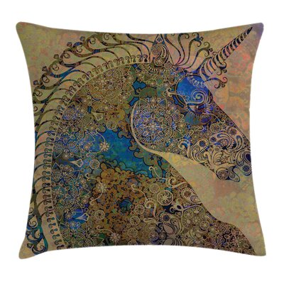 Unicorn Indian Mandala Pastel Square Pillow Cover Size: 24 x 24