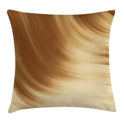 Curved Wave Like Artistic Square Pillow Cover Size: 16 x 16