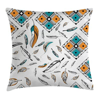 Fabric Case Tribal Bohemian Feather Square Pillow Cover Size: 16 x 16