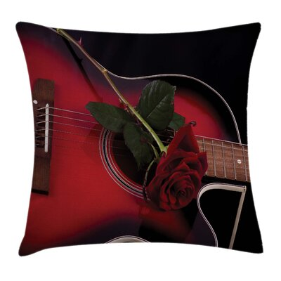 Spanish Guitar with Love Rose Square Pillow Cover Size: 20 x 20