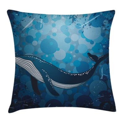 Whale Marine Motif Ocean Retro Square Pillow Cover Size: 24 x 24