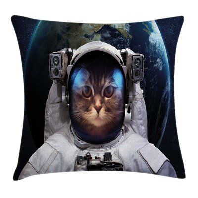 Space Cat Planet Earth Backdrop Square Pillow Cover Size: 18 x 18