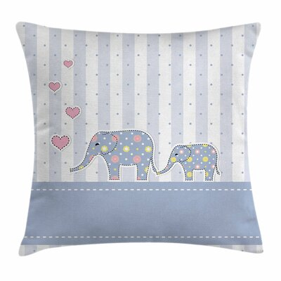 Elephant Happy Newborn Square Pillow Cover Size: 18 x 18