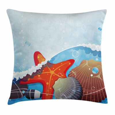 Starfish Decor Foaming Ocean Square Pillow Cover Size: 16 x 16