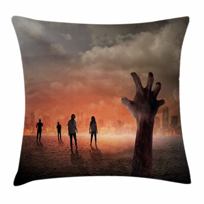 Zombie Decor Death Burning City Square Pillow Cover Size: 16 x 16