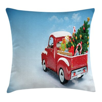 Christmas Truck Xmas Tree Square Pillow Cover Size: 20 x 20