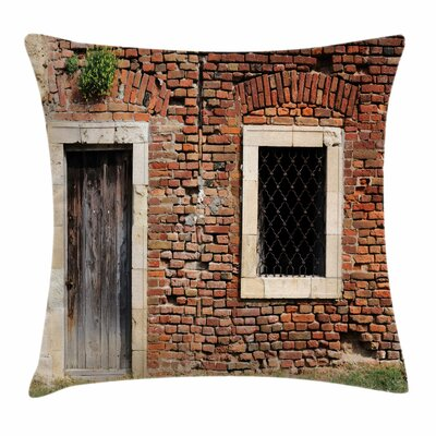 Old House Door Brickwork Square Pillow Cover Size: 16 x 16