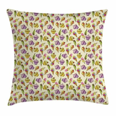 Ice Cream Yummy Cupcakes Square Pillow Cover Size: 16