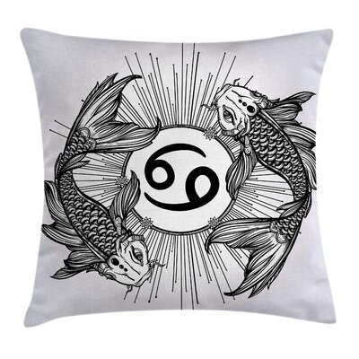 Japanese Decor Astrology Fish Square Pillow Cover Size: 24 x 24