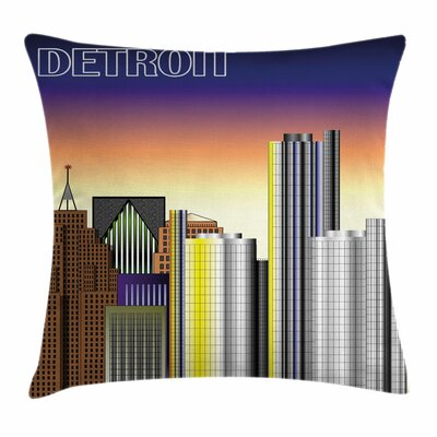 Detroit Decor Retro Metropolis Square Pillow Cover Size: 24 x 24