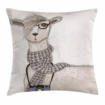Hipster Lama Square Pillow Cover Size: 24 x 24