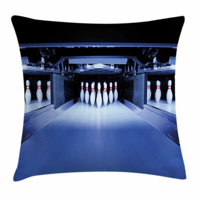 Bowling Party Symmetrical Pins Square Pillow Cover Size: 18 x 18