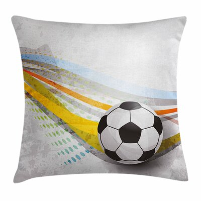 Teen Room Decor Football Lines Square Pillow Cover Size: 18 x 18