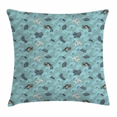 Japanese Wave Asian Sea Dragon Square Pillow Cover Size: 16 x 16