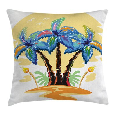 Tropical Cartoon Island Sunset Square Pillow Cover Size: 24 x 24