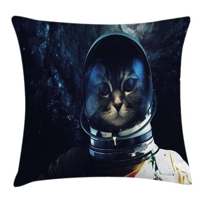 Space Cat Extragalactic Orbit Square Pillow Cover Size: 18 x 18